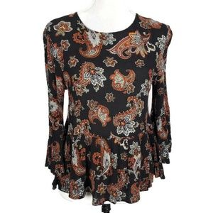 Altar'd State Black Paisley Peplum Top Size Small